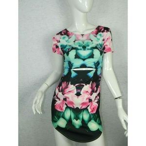 Rise Of Dawn Floral Stomach Cutout Sexy Dress Sz S